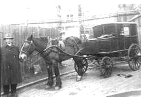 A Durham ambulance, A horse ambulance fro Durham, reproduced by consent of the Friends of Beamish. Rather antiquated in appearance, as I imagine Witham's must have been.