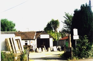 Slythes' yard in 2002. It was at the corner of Easton Road and Collingwood Road, and backed onto the main railway line.