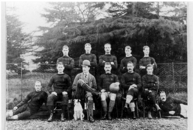 Dated about 1895, this shows some of the better-off people who could afford to play football in those days. Probably at the Grove