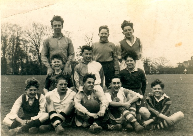 It was very hard to choose another photo, so I picked the most cheerful one. These are Hatfield Road Rovers in about 1949. They were an informal team who played near Witham Lodge. Back row, left to right, Bobby Rushen, Ken Bibby, Kenneth Frost. Middle row, Gary Upson, Norman Groves, Ronny Doe. Front row, Billy Baldwin, Tony Pennock, Ray Curtis, Cliff Crane, John Thorogood
