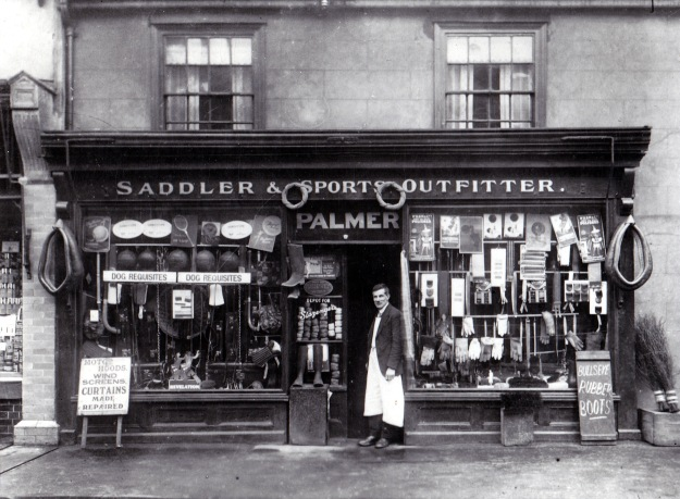 Basil Palmer and his shop at 45 Newland Street in the 1920s