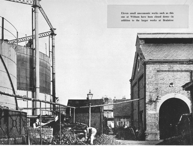 The gas works, c 1950. The site is now occupied by the Mill Lane car park