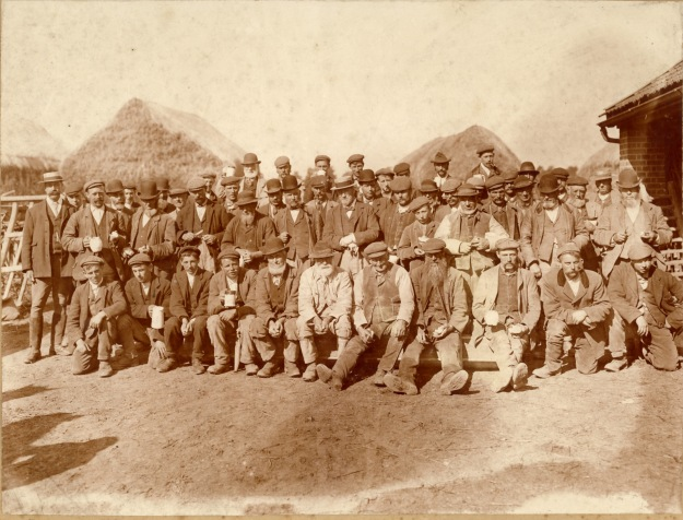Farmworkers in about 1900 at Blunts Hall farm. Probably harvest time, in which case extra men would have been recruited