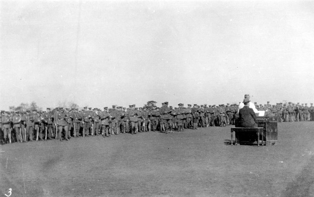 The last Church Parade of the 1st/7th Battalion of the Warwickshire Regiment, before leaving for France in March 1915. Probably on land now occupied by Guithavon Rise etc, then belonging to the Witham Land Company