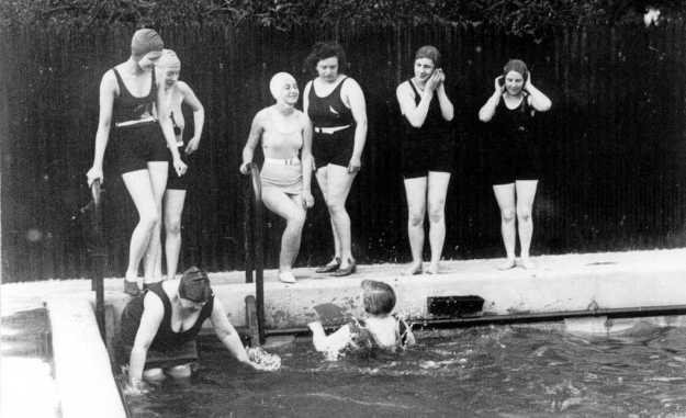 Women enjoying the pool. Including Mrs Edith Redman, bending down on the left. She learnt to swim here at the age of 54, and was so keen that she also used to cycle to swim at Maldon