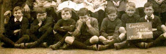 These boys could well have been habitual swimmers at Dickie Meads. Some of them look as if they were wishing they were there, enjoying the water, instead of having their school photo taken. They were at Maldon Road School in about 1920