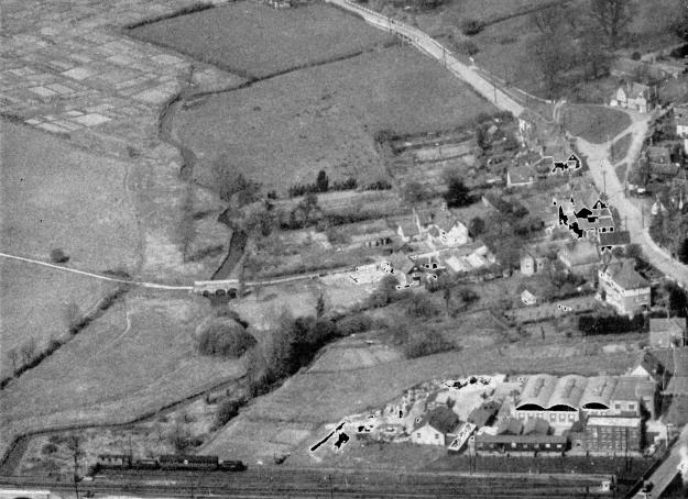 From an air photo dated 1957 belonging to Patrick Horner, to whom thanks. Part of the Church's allotments are top left (now Saxon Drive). Below them is Moat farm bridge. Chipping Hill green is near the top right. Pinkham's Glove Factory is front right.
