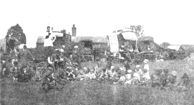 A religious service in the pea fields at Braxted in 1931. Because of the pickers' crowded living conditions, clergymen were particularly concerned about their morals. Taken from the Braintree and Witham Times of 1931, so it's a bit fuzzy, but it is the only relevant photo that I know of