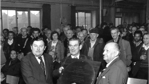 A celebration at the Witham factory in 1978, to mark the production of Crittall's 50 millionth window. In the centre is Cecil Joslin, the longest serving employee at Witham
