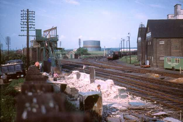 The eastern end of the station in the early 1960s, after the withdrawal of steam locomotives. On the left, the water tower has been demolished, and Witham Junction signal box is behind it (taken by John Scott-Mason)