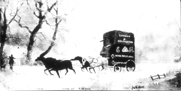 A painting of a local parcel van in the snow in the early 1900s. I don't know anything about the original; Maurice Smith let me copy his copy