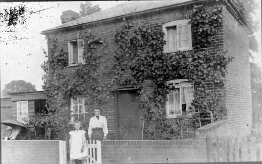 (6) The cottage in Powershall End where Mrs Raven born, and lived as a child [since demolished; site is now occupied by garages adjoining number 127 Powershall End. It was plot 654 on the tithe map of 1839 (E.R.O. D/CT 405A and B). C.1910. Shows the vine on the front, and the shed to the left where Mr Turner made wine. Also Edith Turner (later Mrs R) and a friend