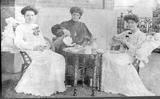 (7) Servants at Brights on Market Hill, Maldon. Madge Turner (Mrs Raven's sister) on the right; she made the dresses. Probably late 1890s.