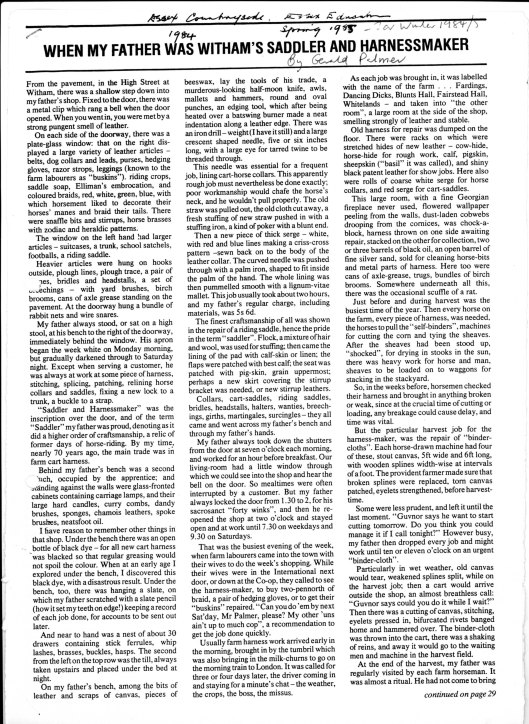 Mr Palmer, article about his father, part 1