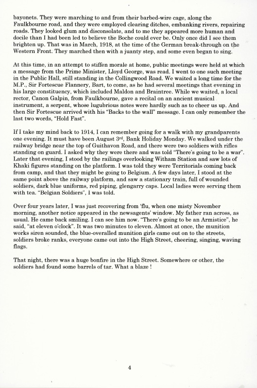 Mr Palmer - article about First World War in Witham, part 4 (above)