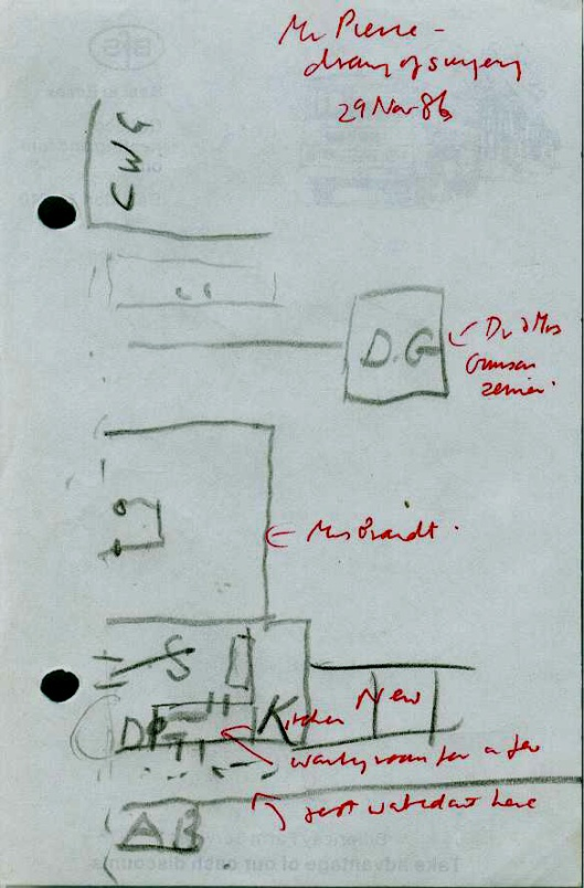 Walter Peirce's plan of the surgery at 129 Newland Street in his youth. Additions from the conversation are in red