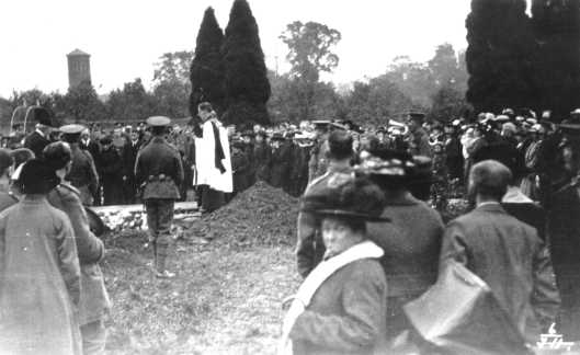 Charlie Sneezum's funeral in Witham in 1915. At the top is part of the procession, walking into Guithavon Street. These are probably Charlie's brothers and sisters and cousins. Below that is the burial in All Saints churchyard.