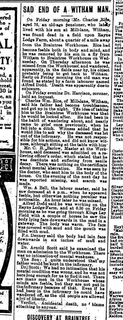 Obituary of Charles Rice, Essex County Chronicle, 24 November, 1911.