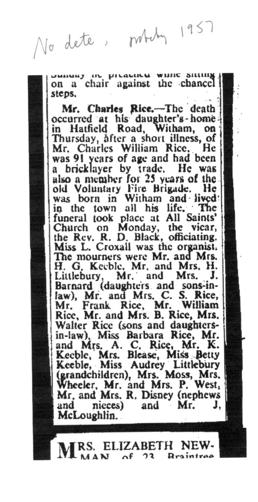 Above. Obituary of Charles Rice, Barbara's grandfather, 1957