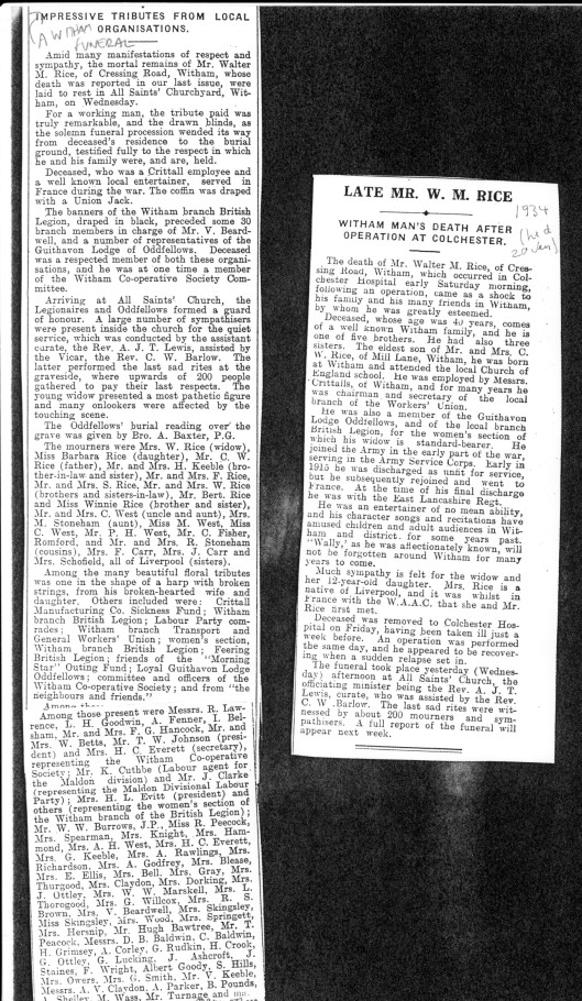 Above. Obituaries in 1934 of Walter Rice, Barbara's father
